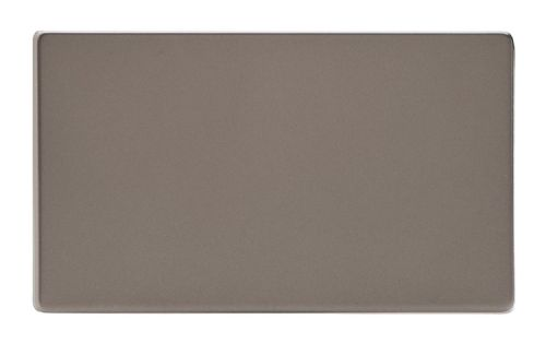 Varilight XDRDBS Screwless Pewter 2 Gang Double Blank Plate
